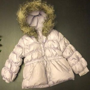 Heavy Puffer Jacket with Fur Trim Hood